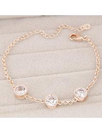 Fashion Gold Color Diamond Decorated Simple Design Alloy Korean Fashion Bracelet