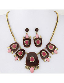 Fashion Coffee Geometry Shape Decorated Simple Design Alloy Jewelry Sets
