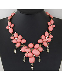 Fashion Red Oval Shape Decorated Color Matching Design Alloy Bib Necklaces