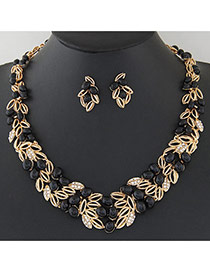 Fashion Black Leaf Shape Decorated Hollow Out Design Alloy Jewelry Sets