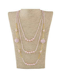 Fashion Pink Beads Decorated Multilayer Design Alloy Beaded Necklaces
