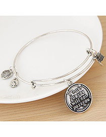 Fashion Silver Color Flag&round Pendant Decorated Simple Design Alloy Fashion Bangles