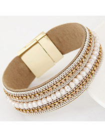 Fashion White Diamond&chian Decorated Hasp Design Alloy Korean Fashion Bracelet