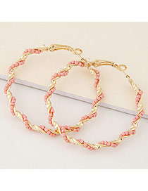 Fashion Pink Beads Decorated Twine Design Alloy Korean Earrings