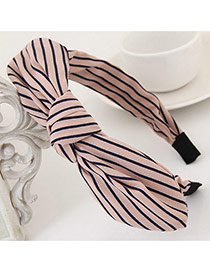 Fashion Pink Stripe Pattern Decorated Bowknot Design Fabric Hair band hair hoop