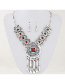 Vintage Red Diamond Tassels Decorated Hollow Out Design