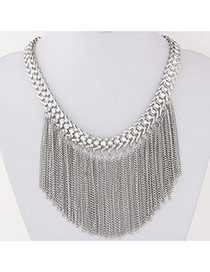 Exaggerate Silver Color Diamond Tassels Decorated Simple Design