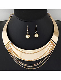 Exaggerate Gold Color Tassels Decorated Round Shape Design Alloy Jewelry Sets