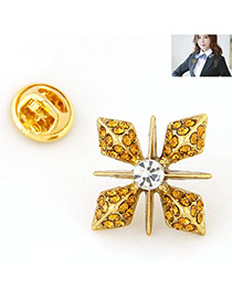 Exquisite  Gold Color Diamond Decorated Flower Shape Design Alloy Korean Brooches