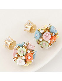 Sweet Multi-color Diamond&flower Weaving Decorated Simple Design Alloy Stud Earrings