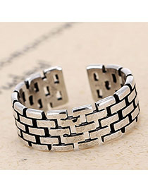 Retro Antique Silver Rectangle Shape Decorated Hollow Out Opening Design Cuprum Korean Rings