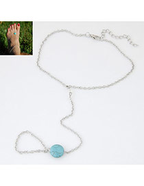 Vintage Light Blue Stone Shape Decorated Simple Design