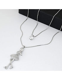 Sweet Silver Color Girl&diamond Pendant Decorated Double Layer Design Alloy Bib Necklaces