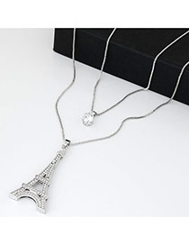 Sweet Silver Color Eiffel Tower Pendant Decorated Double Layer Design