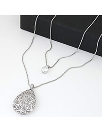 Sweet Silver Color Waterdrop Shape Pendant Decorated Double Layer Design
