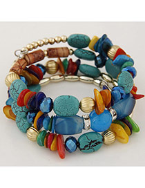 Fashion Blue Irregular Stone Decorated Multilayer Design Alloy Korean Fashion Bracelet