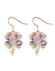 Luxurious Champagne Gold+multicolor Diamond Decorated Clover Shape Design Alloy Crystal Earrings