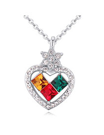 Luxurious Multicolor Diamond Decorated Heart Pendant Design Alloy Crystal Necklaces