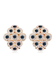 Luxurious Champagne Gold+dark Blue Diamond Decorated Rhombus Shape Design Alloy Crystal Earrings