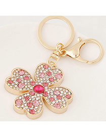 Fashion Plum Red Diamond Decorated Clover Shape Design Alloy Fashion Keychain