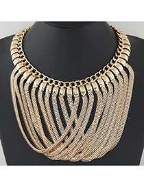 Exaggerate Gold Color Metal Chain Peadant Decorated Collar Design Alloy Bib Necklaces