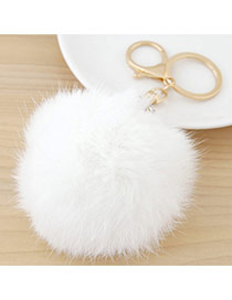 Fashion White Fur Ball Pendant Decorated Simple Design