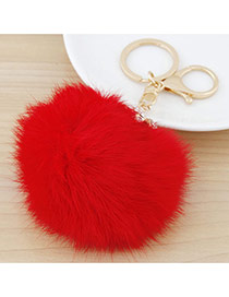 Fashion Red Fur Ball Pendant Decorated Simple Design