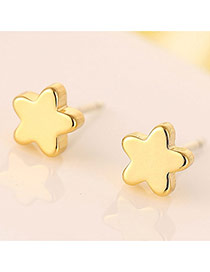 Sweet Gold Color Star Shape Decorated Simple Design Cuprum Stud Earrings
