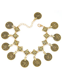 Vintage Gold Color Coins Tassel Pendant Decorated Simple Design Alloy Korean Fashion Bracelet