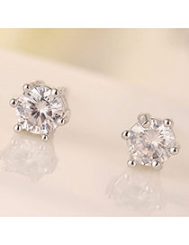 Sweet Silver Color Round Shape Diamond Decorated Simple Design Zircon Stud Earrings