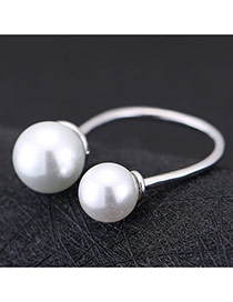 Sweet Silver Color Double Pearl Decoreated Opening Design Cuprum Korean Rings