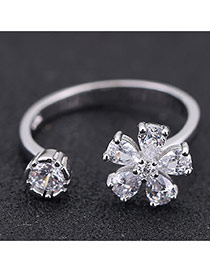 Sweet Silver Color Flower Shape Decorated Opening Design Zircon Korean Rings
