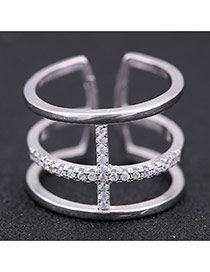 Sweet Silver Color Diamond Decorated Three-deck Opening Design Zircon Korean Rings