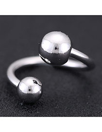 Sweet Silver Color Double Beads Decorated Opening Design Cuprum Korean Rings