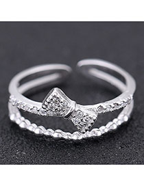 Sweet Silver Color Bowknot Shape Decorated Double Layer Opening Design Zircon Korean Rings