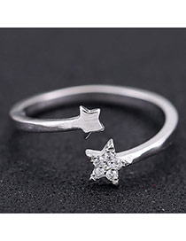 Sweet Silver Color Double Stars Decorated Opening Design Zircon Korean Rings