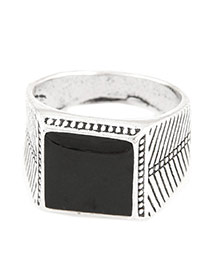 Fashion Black Square Shape Decorated Simple Design Alloy Korean Rings