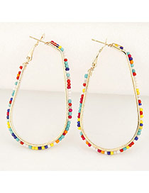 Fashion Multi-color Measle Weaving Decorated Waterdrop Shape Design Alloy Korean Earrings