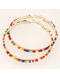 Fashion Multi-color Beads Decorated Round Shape Design Alloy Korean Earrings
