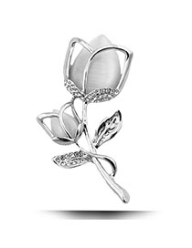 Fashion Silver Color Diamond Decorated Tulip Shape Design Alloy Korean Brooches