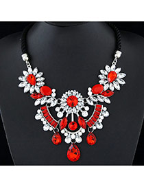 Fashion Red Waterdrop Shape Diamond Decorated Short Weaving Design