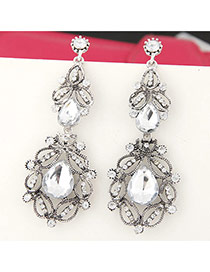 Trendy Silver Color Water Drop Shape Gemstone Decorated Hollow Out Design