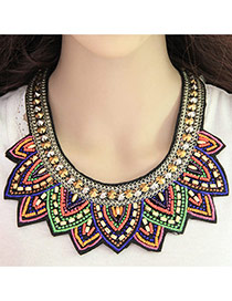 Bohemia Multi-color Rivet&beads Weaving Decorated Collar Design