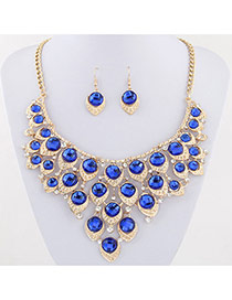 Exaggerated Sapphire Blue Waterdrop Shape Diamond Decorated Collar Design