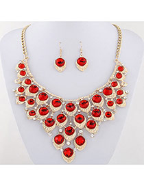 Exaggerated Red Waterdrop Shape Diamond Decorated Collar Design