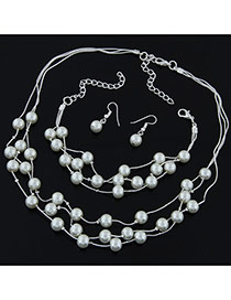 Elegant Silver Color Pearl Decorated Multilayer Design Alloy Jewelry Sets
