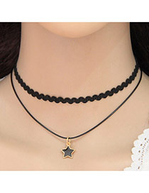 Elegant Black Star Shape Pendant Decorated Double Layer Design