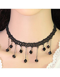 Elegant Black Beads Tassel Pendant Decorated Weaving Chain Design