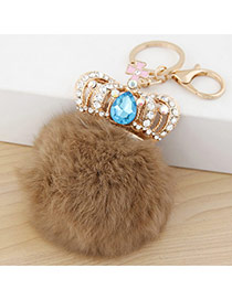 Fashion khaki Crown&fuzzy Ball Decorated Simple Design