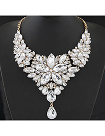 Luxury White Waterdrop Shape Diamond&flower Shape Decorated Collar Design